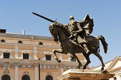Equestrian statue of El Cid Spanish national hero Burgos Castile and Leon Stock Photos