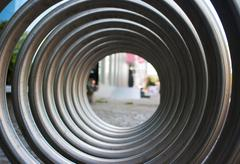front view of large metal spiral - stock photo
