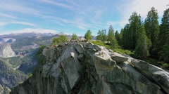 Observation area with tourists in Yosemite National Park - stock footage
