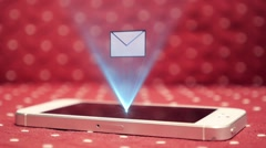 Hologram Interface of Geting New Message on Smart Phone. Futuristic Technology Stock Footage