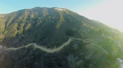 Hollywood sign on top of Mount Lee at autumn sunny day. Stock Footage