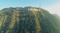 Townscape at foot of Mount Lee with Hollywood sign on top Stock Footage
