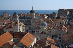 View from the city walls historic centre Dubrovnik Dalmatia Croatia Europe - stock photo