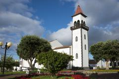 Church Salga Sao Miguel Azores Portugal Europe - stock photo