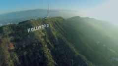 Panorama with valley at foot of Mount Lee with Hollywood sign Stock Footage