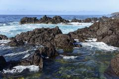 Stock Photo of Rocky coastline near Ponta Furada Faial Azores Portugal Europe
