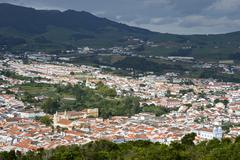 View of Angra do Heroismo by the Monte Brasil Terceira Azores Portugal Europe - stock photo