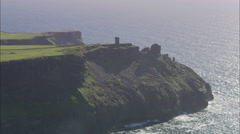 AERIAL Ireland-Flying Round Peninsular At Old Watch Tower Stock Footage
