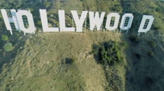Hollywood sign at autumn sunny day. Aerial view. Stock Footage