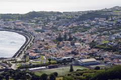 View from Miradouro de Nossa Senhora da Conceicao Horta Faial Azores Portugal - stock photo