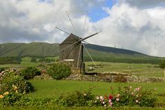 Windmill Doze Ribeiras Terceira Azores Portugal Europe Stock Photos