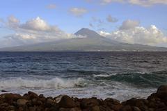 Stock Photo of Island and Mt Pico Porto da Boca da Ribeira Ponta da Ribeirinha Faial Azores