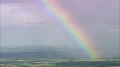 AERIAL Ireland-Rainbow Over Cork County Stock Footage
