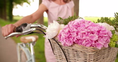 Flowers in the basket of a classic bicycle in a park Stock Footage