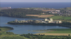 AERIAL Ireland-Industrial Sites In Cork Harbour Stock Footage