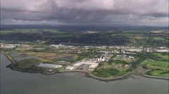 AERIAL Ireland-Flying Up River Lee Towards Cork Stock Footage