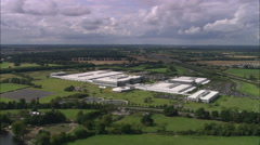 AERIAL Ireland-Modern Factory Outside Dublin Stock Footage