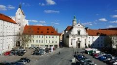 The Old Corn Market in Regensburg Stock Footage