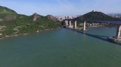 Third bridge (Terceira Ponte) of Vitoria, Vila Velha, Espirito Santo, Brazil Stock Footage