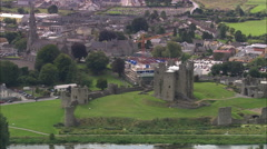 AERIAL Ireland-Trim Castle - stock footage