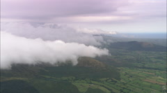 AERIAL United Kingdom-Clouds Forming Over Mourne Mountains Stock Footage