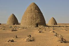 Domed mausoleums called Qubbas Old Dongola Northern Nubia Sudan Africa - stock photo