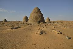 Stock Photo of Domed mausoleums called Qubbas Old Dongola Northern Nubia Sudan Africa