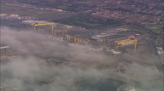 AERIAL United Kingdom-Samson Amd Goliath Cranes At Harland And Wolf Ship Yard, Stock Footage