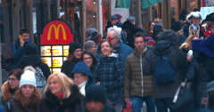 Fast Food Restaurant on Crowded Street Stock Footage