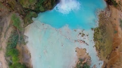 Blue-green water falls from Havasu Creek at autumn day Stock Footage