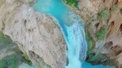 Water falls from Havasu Creek at autumn day in Grand Canyon Stock Footage