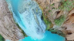 Havasu Creek with waterfall and small cave at autumn day Stock Footage