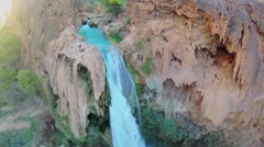 Havasu Falls on creek with small cave at autumn day Stock Footage