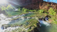 Water stream from Havasu Falls at autumn day in Grand Canyon. Stock Footage