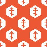 Orange hexagon orthodox cross pattern - stock illustration