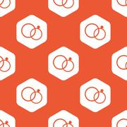 Orange hexagon wedding rings pattern Stock Illustration