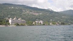 View of the town of Stresa with water Stock Footage