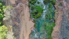 Water stream with dalles and waterfalls in Grand Canyon at autumn Stock Footage