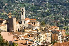 The historic centre of Grasse and the Cathedral Notre Dame du Puy Grasse - stock photo