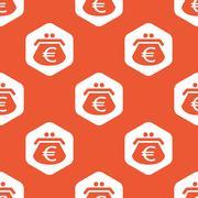 Orange hexagon euro purse pattern - stock illustration