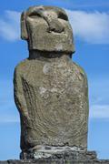 Moai Ahu Tongariki Rapa Nui National Park Unesco World Heritage Site Easter - stock photo