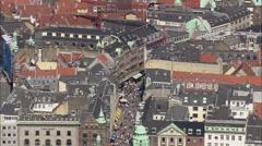 AERIAL Denmark-Copenhagen - The Walking Street Stock Footage