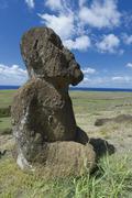Moai in Rano Raraku Rapa Nui National Park Unesco World Heritage Site Easter - stock photo
