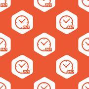 Orange hexagon overnight daily pattern Stock Illustration