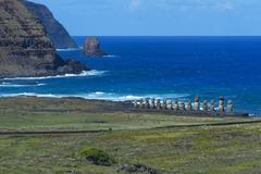 Moais at Ahu Tongariki Rapa Nui National Park Unesco World Heritage Site Easter - stock photo