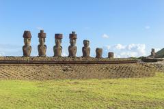 Ahu NaoNao Moais Anakena Rapa Nui National Park Unesco World Heritage Site Stock Photos