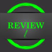 Review icon. Internet button with green on grey background.. Stock Illustration