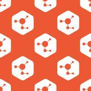 Orange hexagon molecule pattern - stock illustration