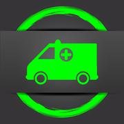 Stock Illustration of Ambulance icon. Internet button with green on grey background..