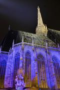 St Stephens Cathedral with festive lighting Stephansplatz square Innere Stadt - stock photo